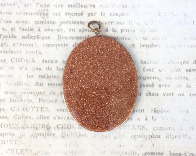 Vintage Goldstone Pendant | Wire Wrapped Large Goldstone