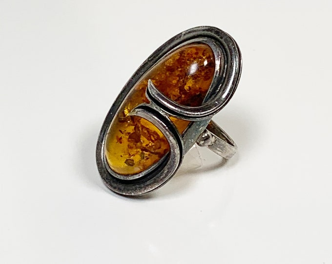 Vintage Silver Amber Ring | Size 7