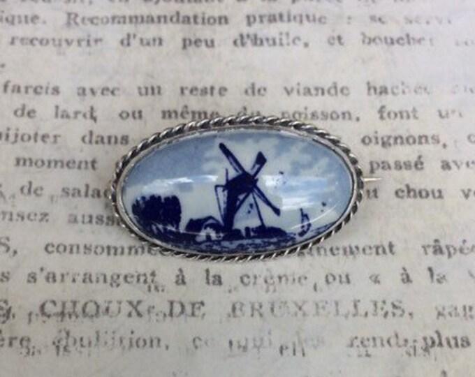 Vintage Delft Windmill Brooch | Delft Blue Pin