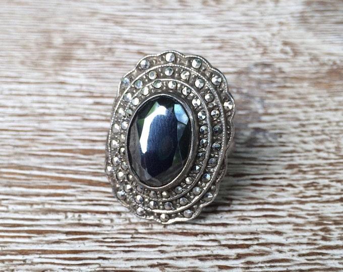 Vintage Art Deco Silver Ring | Hematite | Marcasite | Size 4