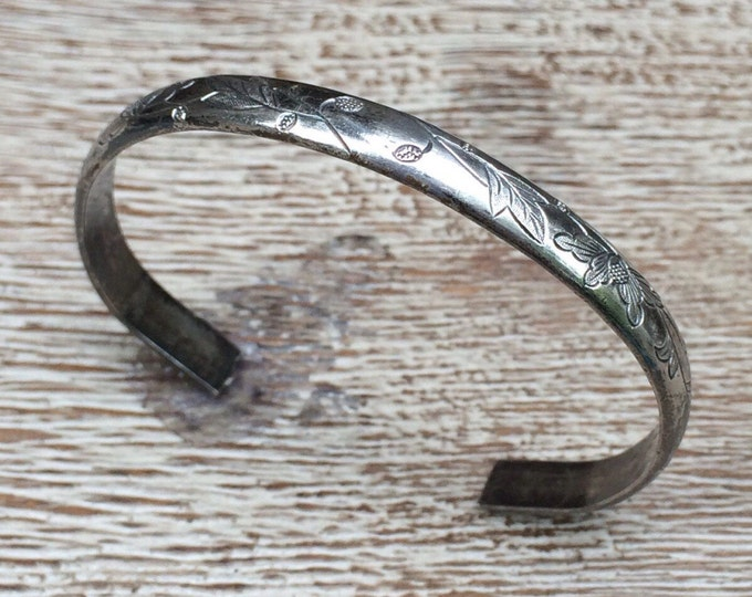 Antique Chinese Silver Cuff Bracelet | Chinese Engraved Wedding Cuff