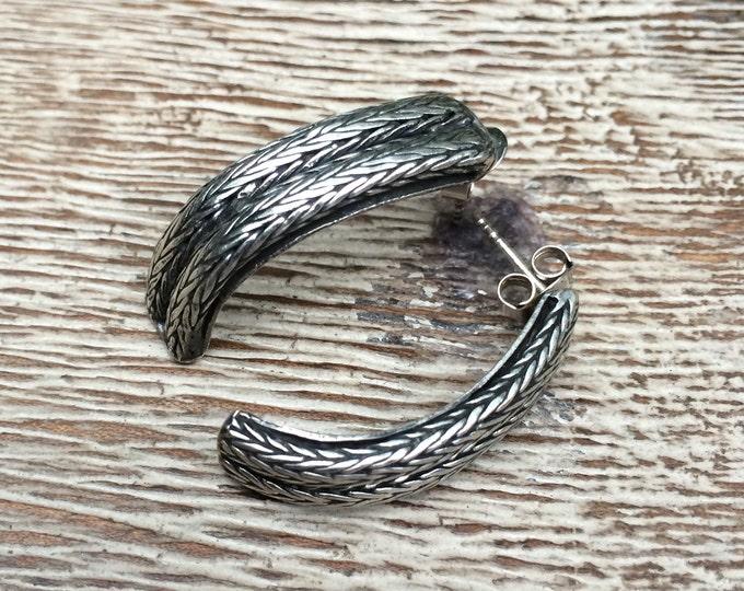 Vintage Silver Braided Earrings | Cable Earrings