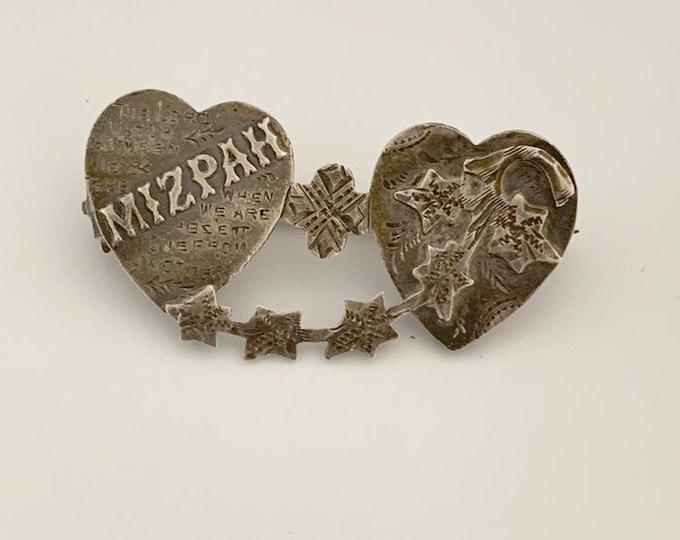 Victorian English Mizpah Brooch | Silver Heart Brooch