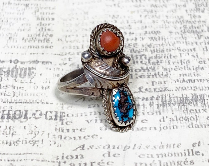 Vintage Silver Turquoise and Coral Ring | Southwest Jewelry | Silver Two Stone Ring | Size 5