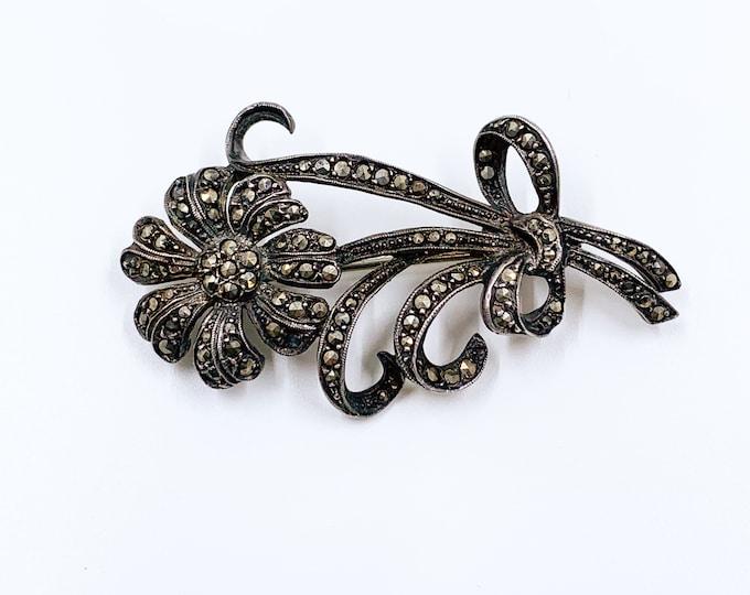 Vintage Silver Marcasite Flower Brooch   Daisy Brooch