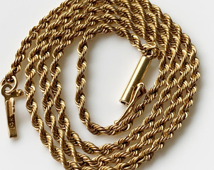 Vintage 14k Gold Rope Chain | 14.5 inch Gold Chain | 1.9 mm Rope Chain