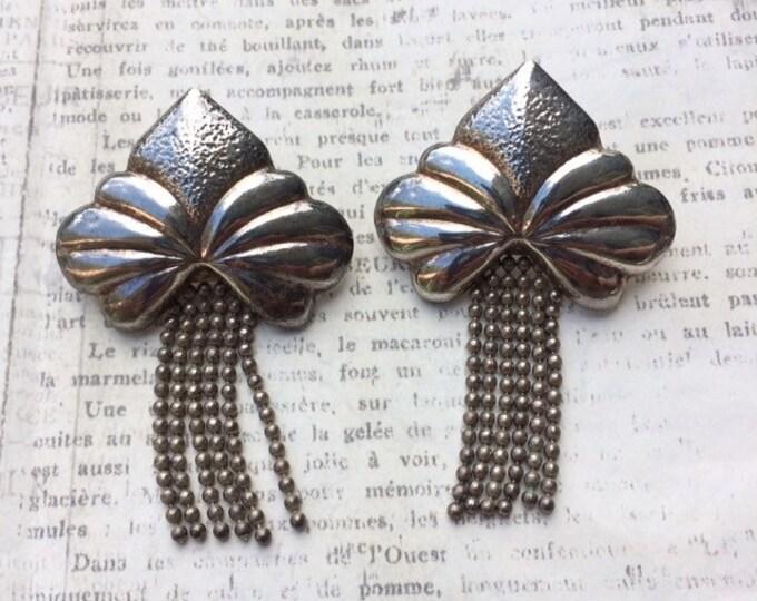 Vintage Silver Fringe Earrings | Italian Silver | Dangle Earrings