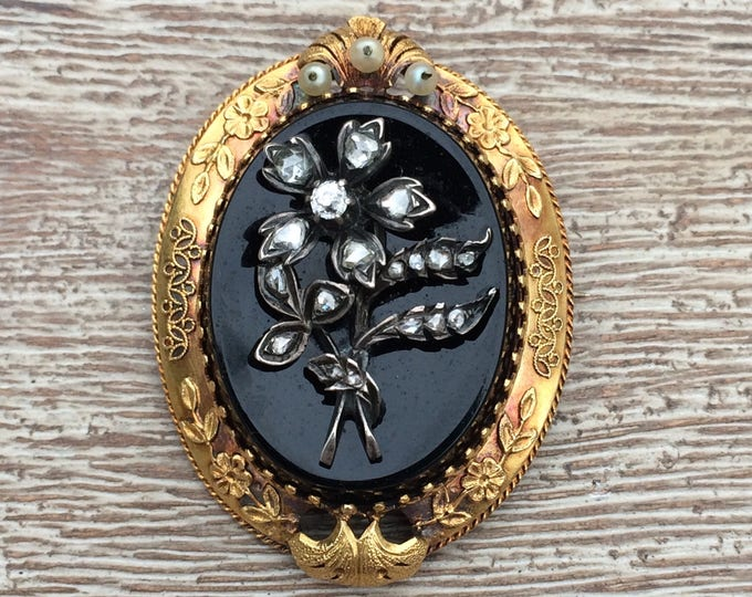Antique Victorian Onyx Brooch |  Rose Cut Diamonds | Onyx Cameo | Floral Mourning Jewelry
