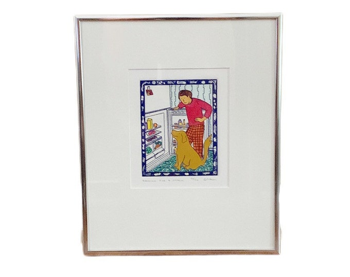 Looking for a Snack Print | Artist Jan Havens | Hand-Colored Etching of Dog and Man | Framed Art