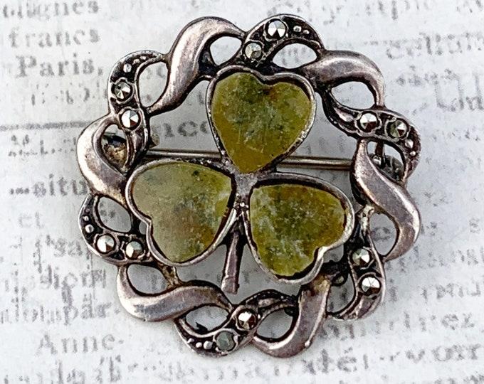 Vintage Connemara Marble Shamrock Brooch | Lucky Charm | Clover