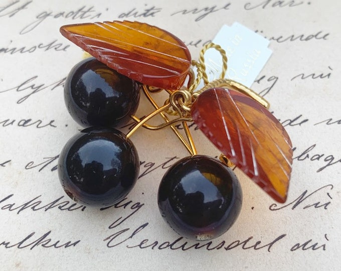 Vintage Amber Cherry Brooch | Amber Fruit Cluster Brooch | Russian Amber
