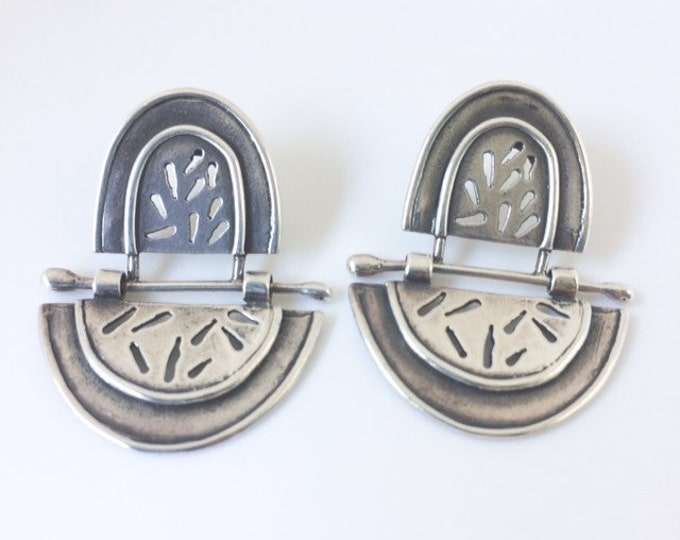 Vintage Modernist Articulated Silver Earrings | Cut Out Design