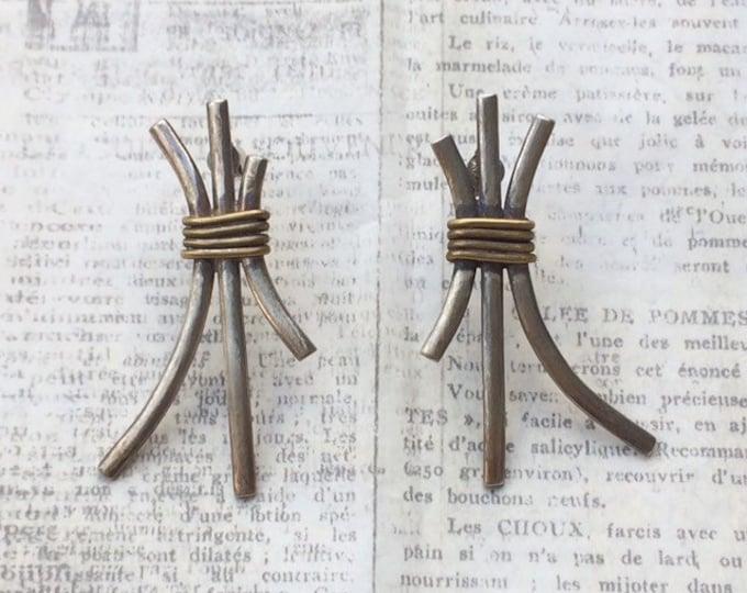 Vintage Modernist Silver Wire Earrings | Wire Wrapped Earrings