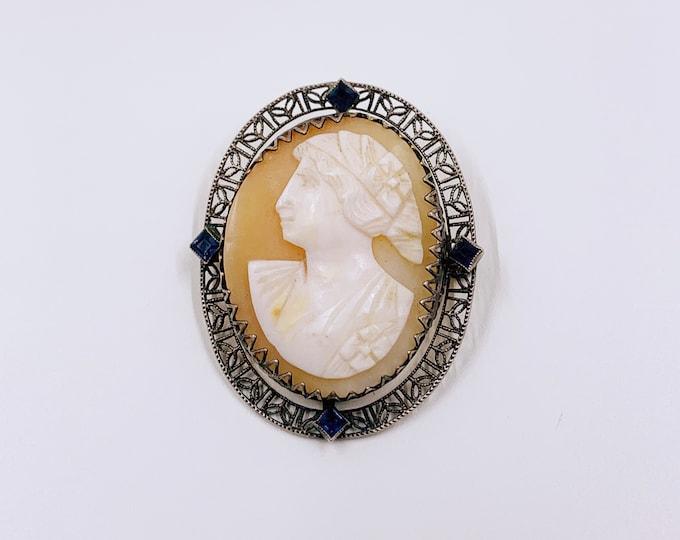 Vintage Silver Cameo Brooch | Blue Glass