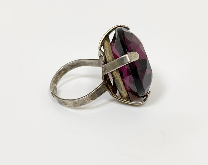 Vintage Sterling Silver Large Cocktail Ring | Art Deco Purple Glass | Adjustable Size