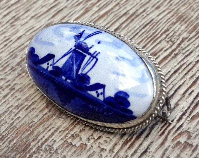 Vintage Delft Blue Brooch | Porcelain Windmill Pin