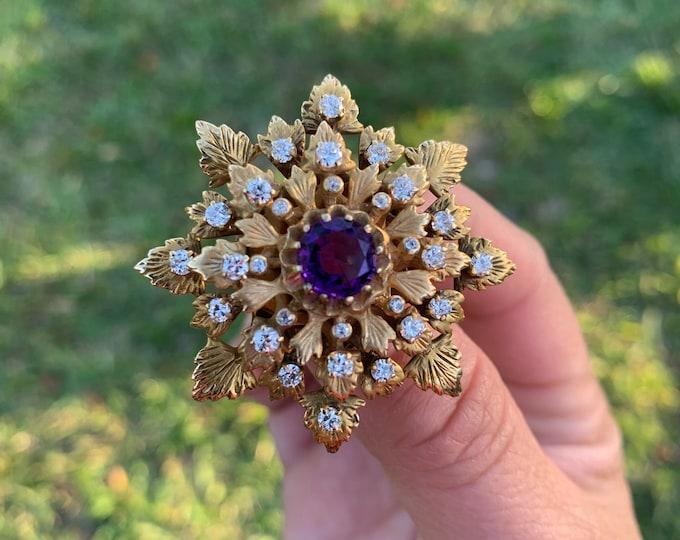 Vintage Gold Amethyst and Diamond Brooch   14K Brooch & Pendant