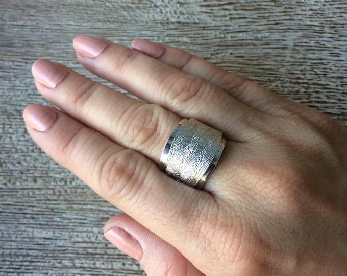 Vintage Silver Textured Ring | Emmons Adjustable Ring