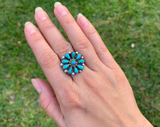 Vintage Petit Point Turquoise Ring | Turquoise Flower Ring | Size 7 Ring