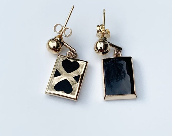 Victorian Onyx Drop Earrings | 14K and Gold Filled | Heart Design