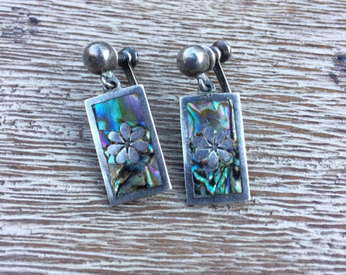 Vintage Silver Mother of Pearl Inlay Earrings   Mexican Silver   TAXCO Screw Back Earrings