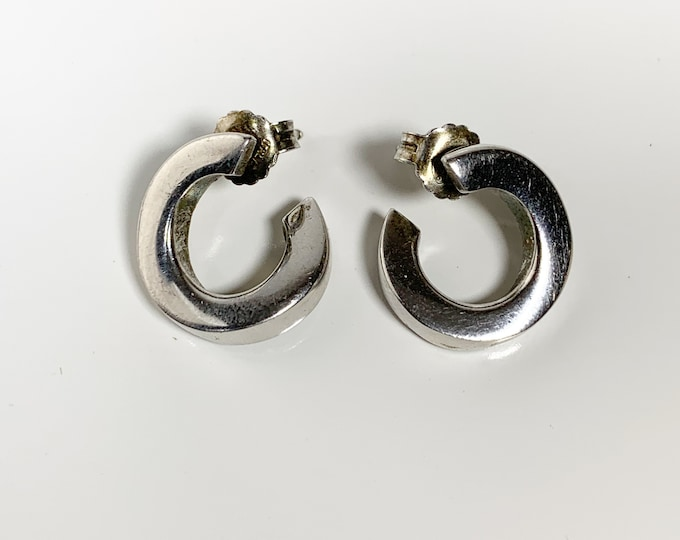 Silver Twisted Round Stud Earrings