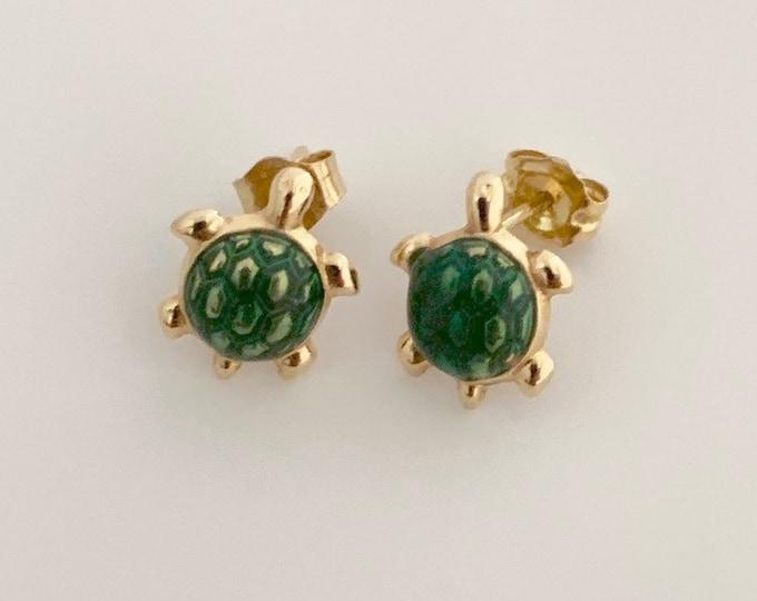 Gold Turtle Earrings   14K Tiny Stud Earrings   Green Enamel Turtle