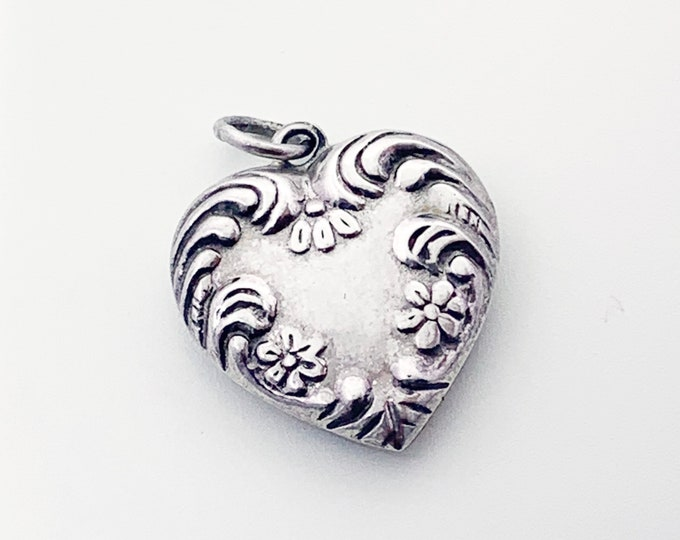 Vintage Silver Puffy Heart Charm | Repousse Flowers and Swirls Design