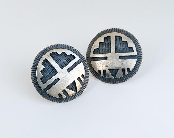 Vintage Silver Overlay Earrings   Gary Nez Earrings   Native American