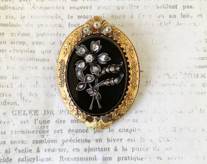 Antique Victorian Onyx Brooch    Rose Cut Diamonds   Onyx Cameo   Floral Mourning Jewelry