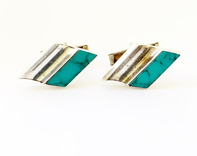 Vintage Modernist Turquoise Cuff Links | Taxco Silver and Turquoise Cuff Links