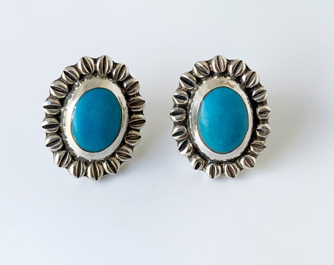 Vintage Mexican Silver Turquoise Stud Earrings | Silver Sunflower Earrings
