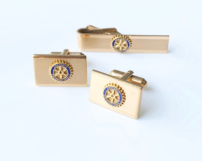 Vintage Rotary International Cufflinks and Tie Bar | Leavens Gold Filled Cuff Links and Tie Bar