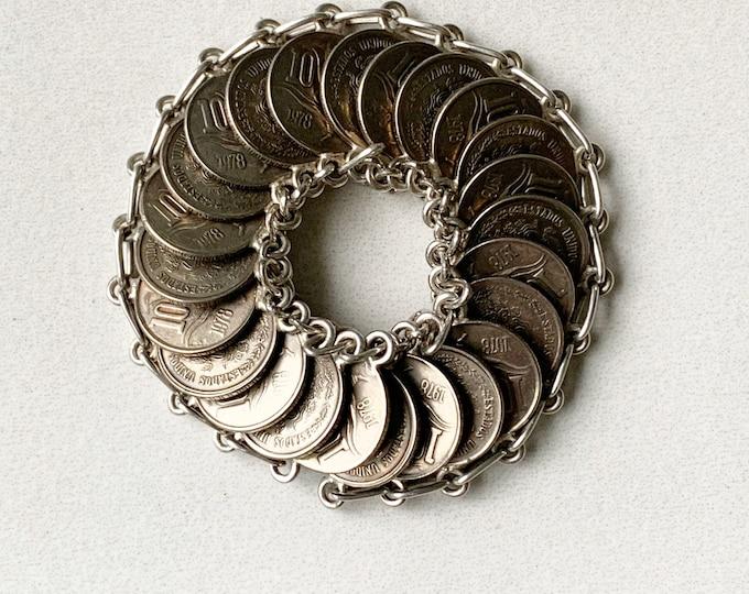 Vintage Mexican Coin Bracelet | 1978 Mexican 10 Centavos Bracelet