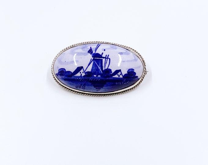 Vintage Delft Blue Windmill Brooch | Porcelain Windmill Pin