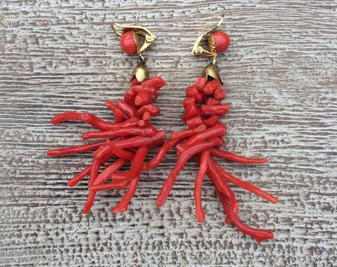 Vintage Coral Cluster Earrings   Clip-On   Coral Branch Dangle Earrings