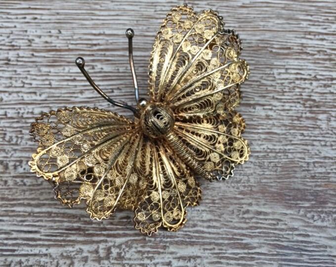 Vintage Filigree Butterfly Brooch | Vermeil Silver