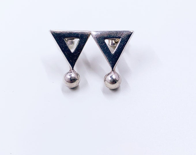 Vintage Silver Modernist Triangle Earrings   Geometric Triangle Earrings