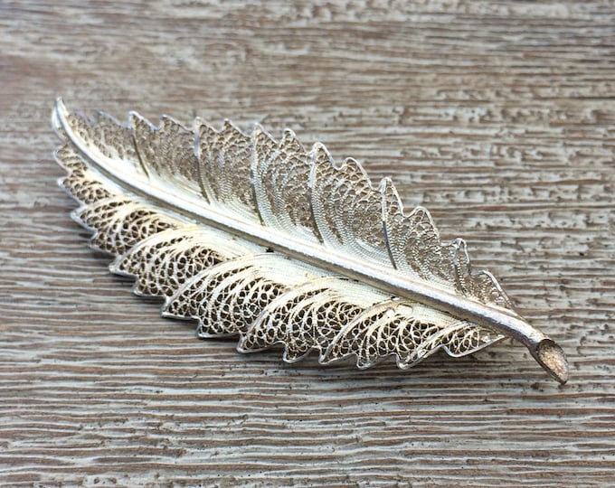 Vintage Silver Feather Brooch | Filigree Feather