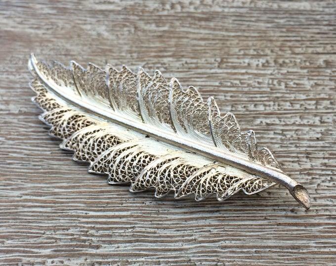 Vintage Silver Feather Brooch  Filigree