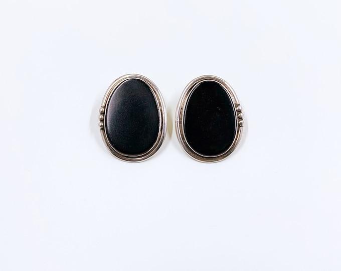 Vintage Onyx Silver Earrings | Southwest Style Onyx Earrings | Black Onyx Large Studs