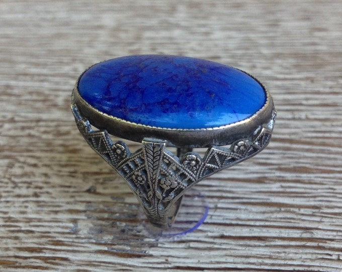 Vintage Art Deco Filigree Ring | Sterling Silver Blue Stone Ring  | Size 4 1/2