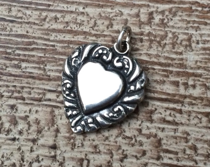 Vintage Heart Charm | Sterling Silver Heart Pendant | Repousee Charm