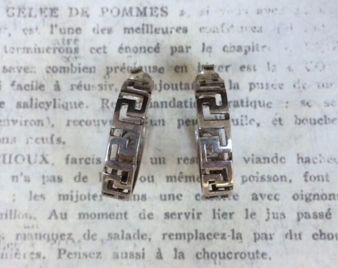Vintage Silver Greek Key Hoop Earrings | Silver Half Hoops