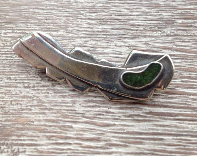 Vintage Modernist Turquoise Brooch | Silver Comet