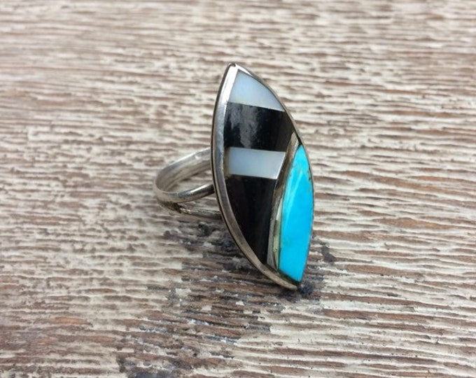 Vintage Turquoise Inlay Ring | Silver South West Jewelry | Turquoise Navette Ring | MOP Turquoise Onyx Ring | Size 7 3/4