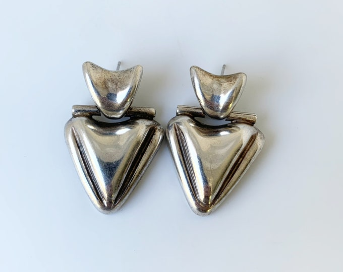Vintage Mexican Silver Modernist Earrings   Modernist Hinged Dangle Earrings   Large Silver Earrings