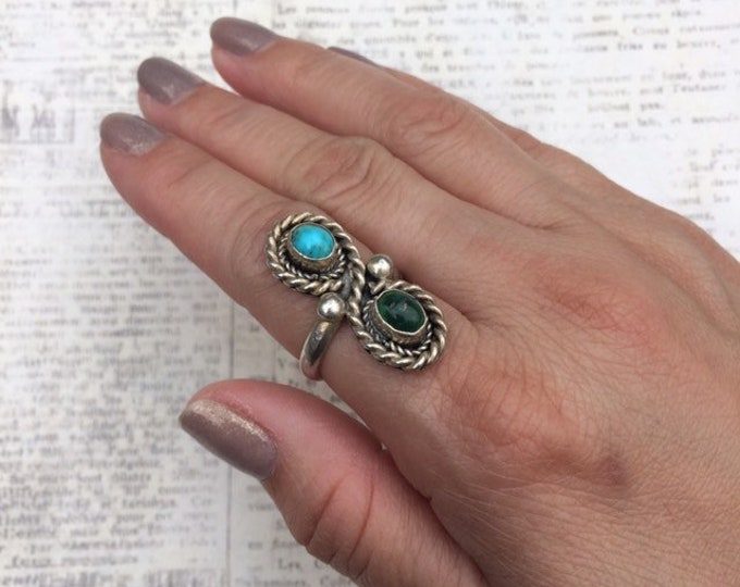 Vintage Silver Turquoise Ring | Southwest Jewelry | Silver Two Stone Long Ring | Size 6 1/2