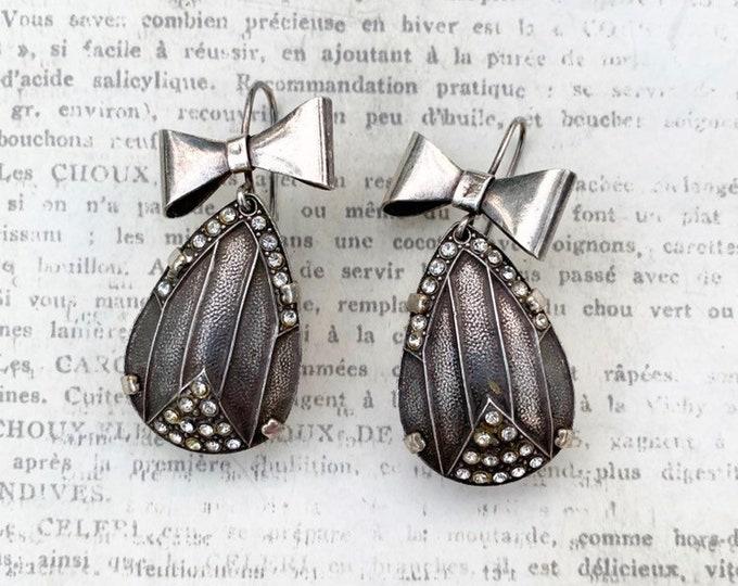 Vintage Silver Art Deco Bow Earrings | Tear Drop Earrings