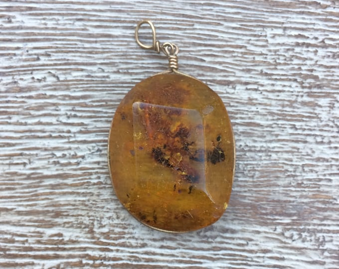 Vintage Amber Pendant | Wire Wrapped Amber